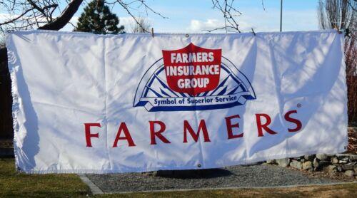 Vintage Advertisement, LARGE NYLON FARMERS INSURANCE BANNER, Old Logo, 7 Feet