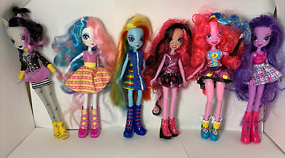 "MLP Equestria Girls Lot 6 Dolls 9"" figures Rainbow Dash Pinky Pie Twilight Spark"