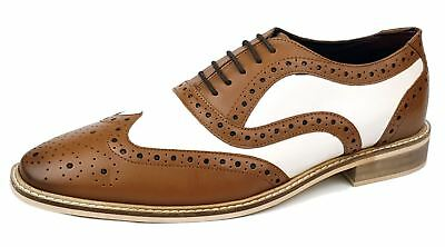 Frank James Newham Brogues 1920 Lace Up Two Tone Mens Leather Shoes Tan / White - Mens 1920 Shoes