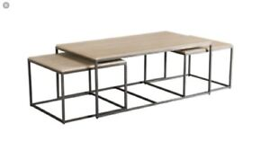 ****Ethan Allen Stone Coffee Table and Nesting Sides