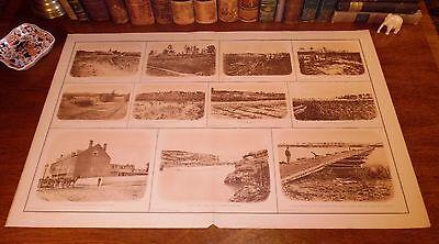 Antique Panoramic Map Print - Large Antique Civil War CONFEDERATE DEFENSES Panoramic View Map Lithograph Print