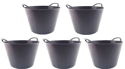 Rubber Feed Tub - PACK OF 5 SMALL FLEXIBLE RUBBER BUCKETS HORSE FEED EQUESTRIAN GARDEN STORAGE TUB