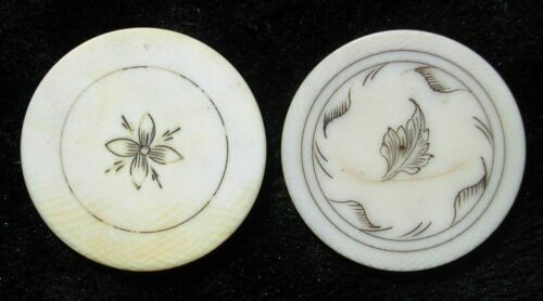 2 Antique Scrimshaw Old West Poker Chip Saloon Gambling Hall 1800s 40mm x 3mm