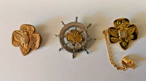 Vintage Girl Scout Membership Pins (2) Plus Girl Scout Mariners Pin