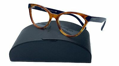 Prada Women's Brown Blue Cats Eye Glasses with case VPR 02T 4BW-1O1 (Catseye Glasses Case)