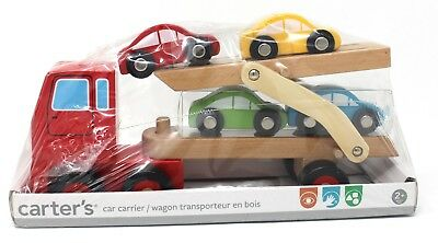 Carter's Wooden car hauler Carrier truck and trailer with 4 cars