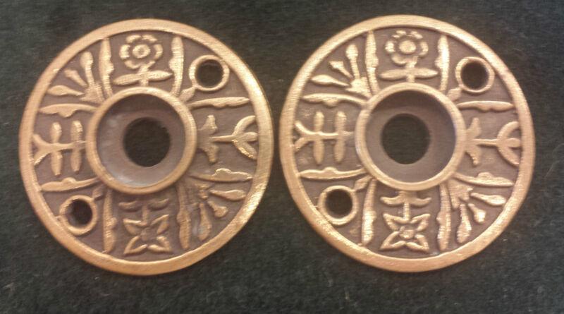 Pair Antique Brass Door Knob Backplates Escutcheons Floral pattern (#3)