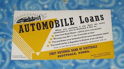 Vintage 1946 Automobile Loans Table Advertisement Card Merle Bashore Excellent