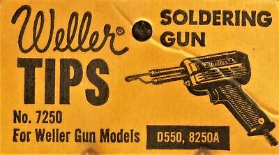 Weller Vintage 7250 Pack 2 Soldering Gun Replacement Copper Tips New Old Stock