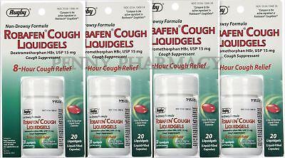 Robafen Dextromethorphan Cough Gels Cough 8Hr Relief 20Ct   4 Pack Limit 1