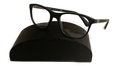 Prada Women's Black Matte Glasses with case VPR 29S 1BO-1O1 52mm