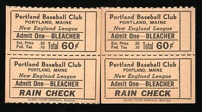 2 1946 Portland Gulls Baseball Full Bleacher Tickets New England League