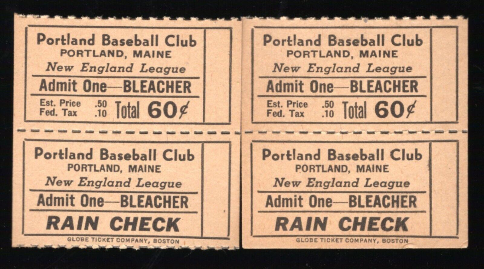 2 1946 Portland Gulls Baseball Full Bleacher Tickets New England League