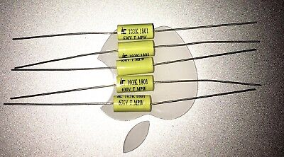 Five 5 New Illinois Cornell Dubilier .1uf 630v Axial Capacitors Free Shipping
