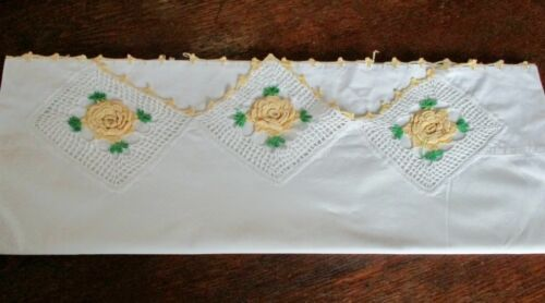 ONE  Vintage  Cotton Pillowcase  Elaborate Crocheted Raised Yellow Flower