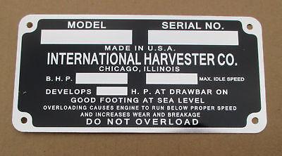 Id Serial Number Plate For Mccormick Deering W-30 W-40