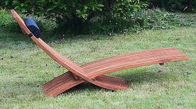 2020 Hercules Ultimate Designer Garden Sun Lounger, Real Solid Acacia Hardwood