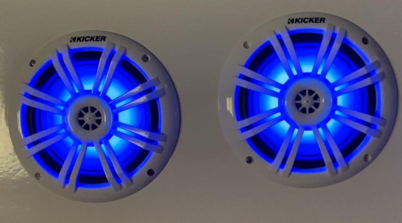 "Pair of KICKER 45KM604WL 6.5"" 150W Blue LED White Coaxial Marine & Boat Speakers"