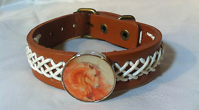 f16d7514bd089 HORSE SNAP   LEATHER twine stitch BRACELET 18-20MM FIRE ORANGE HORSE  BUBBLES!!
