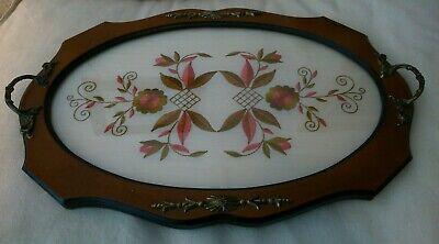 Vintage Butler's Serving Tray Wooden,Brass Handles.Tapestry Blanket