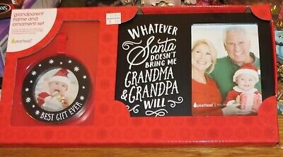 PEARHEAD CHRISTMAS 2 PIECE WOODEN GRANDPARENT FRAME AND ORNAMENT SET