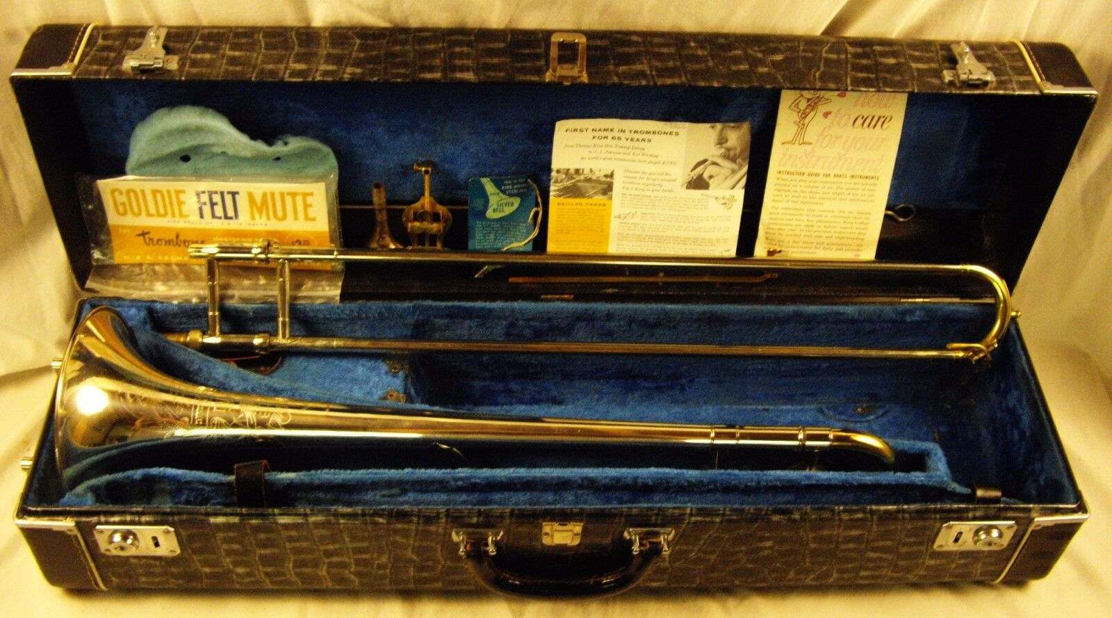 1959 H.N. WHITE KING 2B SILVERSONIC TENOR TROMBONE STERLING BELL COFFIN CASE WOW