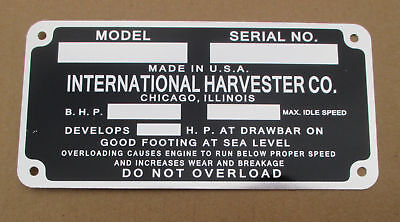 Id Serial Number Plate For Ih International Farmall F-12 F-14 F-20 F-30