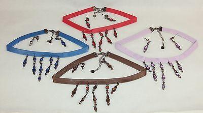 (Velvet/ Faux Leather/Gemstone Choker w/Dangle Pendants/ Earrings 4 Sets/4 Colors)