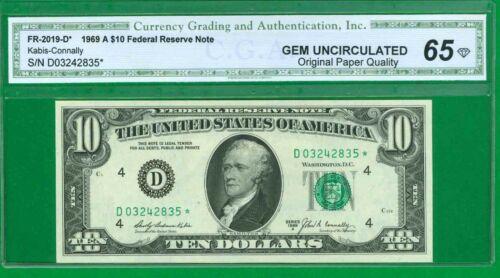 """$10 1969-A 1 D/* BLOCK (w) CLEVELAND P-1 """"GEM UNCIRCULATED"""" """"SCARCE STAR"""" """"OPQ"""""""