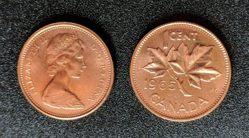 UNC -1965 1 CENT CANADA FULL ROLL OF 50 COINS *