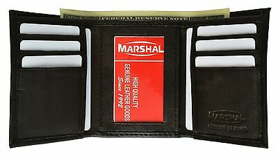 Men's Genuine Leather Slim Trifold Wallet Black New  T55BK