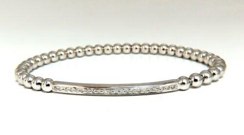 .24ct Natural Round Accordion Expandable Bead Link Slip On Bracelet 14 Karat