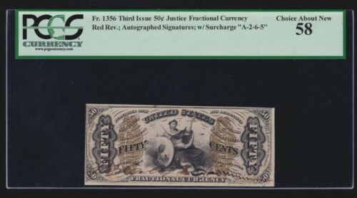 """US 50c Fractional Currency """"Justice"""" Red Back FR 1356 PCGS 58 Ch AU"""
