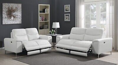 TOP GRAIN WHITE LEATHER MATCH POWER RECLINING SOFA LOVESEAT LIVINGROOM