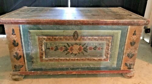 Local Pickup Antique 1806 Signed Hand Painted Wood Dowry Blanket Chest Trunk Key