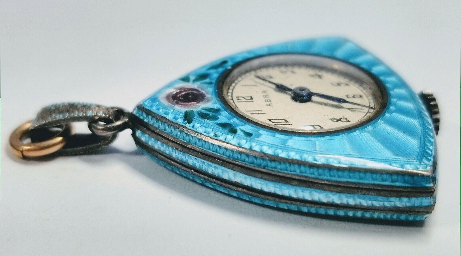 Vintage Abra Sterling Silver and Blue Enamel Triangular Pocket Watch Pendant