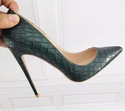 Croc High Heel Pump (Sexy stylish high heel moc croc pointed stiletto pumps 12cm 4.7