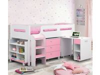Pink and White Wooden Mid Sleeper Sleep Station Desk Cabin Storage Bed Frame - 3ft Single
