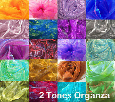 - Axx 2 Tones Crystal Mirror Iridescent Organza Sheer Party Decor Fabric Material