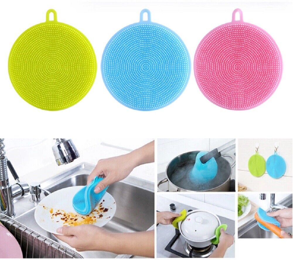 3PC Multifunction Silicone Dish Washing Cleaning Brush Kitchen Home Cleaner Tool Cleaning Products