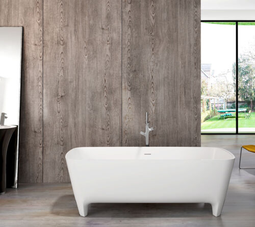 "Freestanding Solid Surface Bathtub   White 71""   Stone Resin Soaking Tub"
