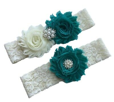 Teal wedding garter plus size bridal garter belt lace](Plus Size Wedding Garter)