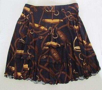NWT Lauren by Ralph Lauren Pleated Equestrian Bridle Print A-Line Skirt Size XL