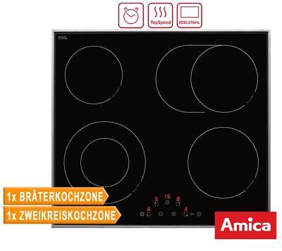 Amica KMC 13284 E Cerankochfeld, 60 cm, Edelstahlrahmen