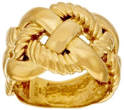 - VICENZA SILVER 18K YELLOW GOLD-PLATED TEXTURED BRAIDED DESIGN RING SIZE 5 QVC