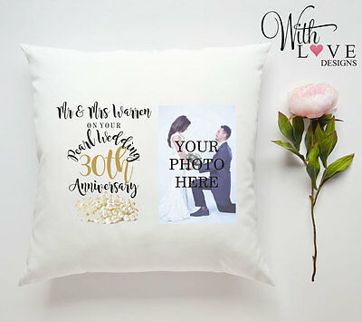30TH PEARL WEDDING ANNIVERSARY PERSONALISED PILLOW CUSHION PHOTO GIFT CUSTOMISE ()