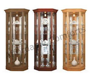 Corner-Glass-Display-Cabinet-with-Pelmet-Mahogany-Dark-Oak-or-Light-Oak