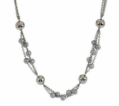 (HONORA STAINLESS STEEL SILVER CULTURED PEARL MULTI-STRAND 32