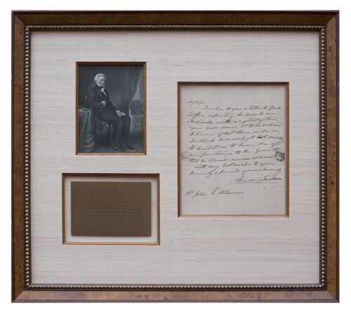 Andrew Jackson Autographed Letter Signed ALS -  Museum Framed