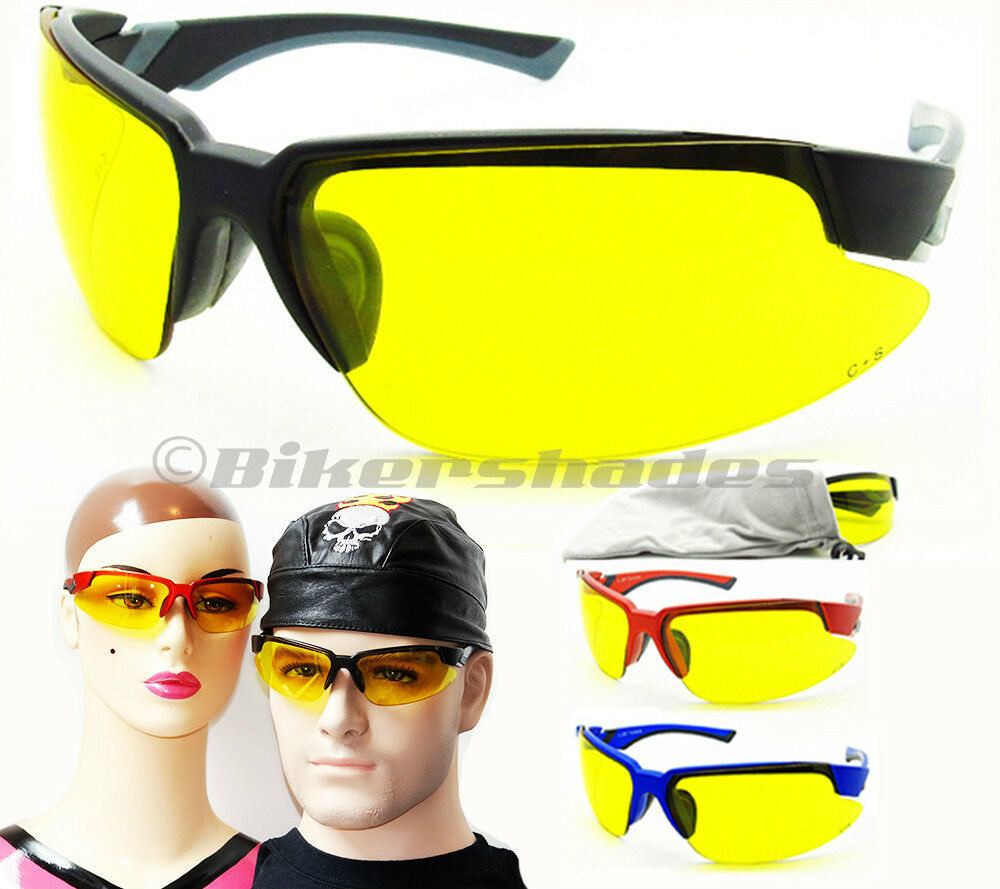 YELLOW Lens Safety Glasses Anti Glare Night Motorcycle Riding Driving Sports Men